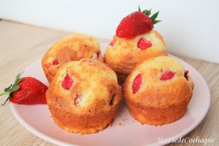 Muffins fraise sans gluten sans lactose