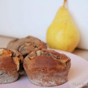 Muffins poire noisettes sans gluten sans lactose
